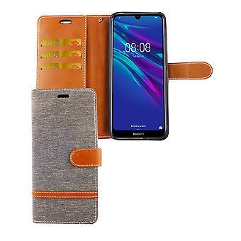 Huawei Y6 2019 Handy-Hülle Schutz-Tasche Case Cover Kartenfach Etui Wallet Grau