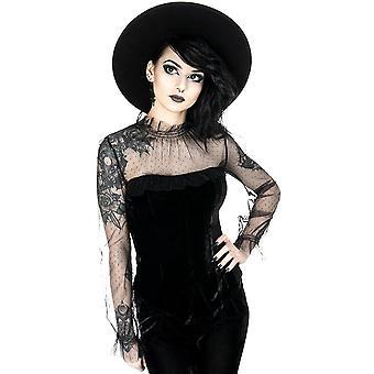 Restyle-retro koningin blouse-zwart gestippelde Lace blouse