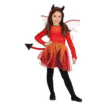 Mädchen Geflügeltes Teufel Fancy Kleid Kostüm