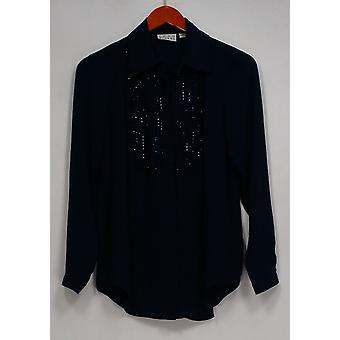 Joan Rivers Classics collectie top Tuxedo verfraaid blouse blauw A284456