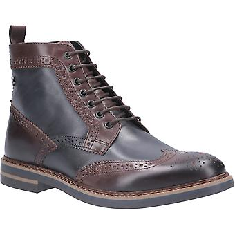 Base London Mens Banner Burnished Lace Up Brogue Boot Brown/Navy