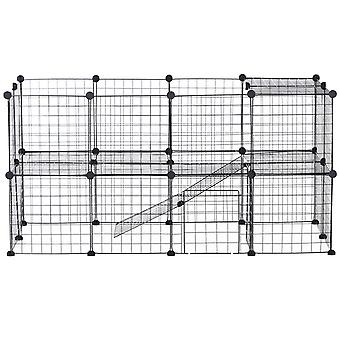 PawHut DIY Pet Playpen Metal Wire Fence Indoor Outdoor Guinea Pig Rabbit Small Animals Cage 36 Panel Enclosure Black