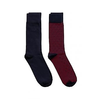 Gant 2 Pack Soilid And Dot Socks Port Red