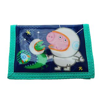 Peppa Pigs Cosmic George Tri-fold Hook and Loop Easy Wipe Kids Wallet Purse