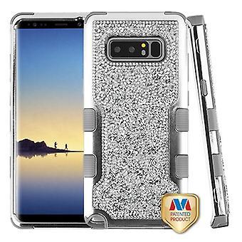 MYBAT chapeamento de prata frame + Silver mini cristais de volta/ferro cinzento TUFF Vivid protetor híbrido capa para Galaxy Note 8