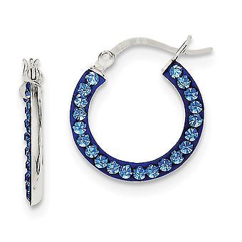 925 plata esterlina pulido con bisagras post Stellux cristal azul aro pendientes de joyería regalos para las mujeres