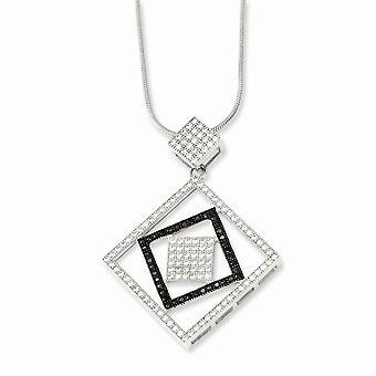 925 plata esterlina Rhodium plateado langosta garra cierre y CZ Cubic Zirconia simulado diamante brillante ascuas Necklac