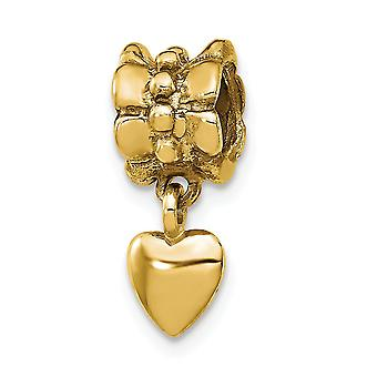 925 Sterling Silver Polished 14k Gold Plated Reflections Love Heart Dangle Bead Charm Pendant Necklace Jewelry Gifts for