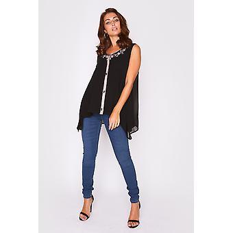 Selena sin mangas bordado v-cuello largo talla asimétrica talón ligero superior en negro