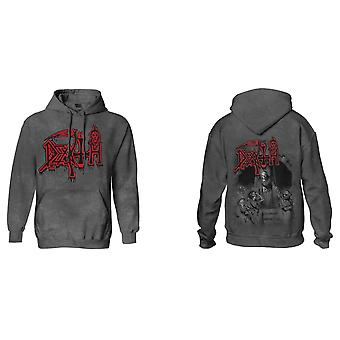 Death Hoodie Scream Bloody Gore Band Logo Official Mens Vintage Wash Pullover