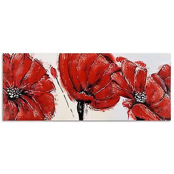 Painel do deco, flores vermelhas-panorama