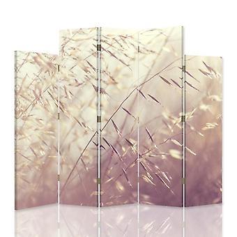 Dekorativa rumsavdelare, 5 paneler, dubbelsidig, canvas, blomstrande grässtrån