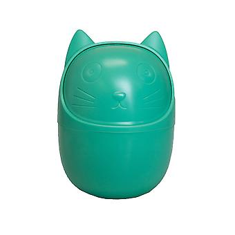 Container for desk, cat-green