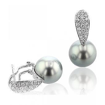 Luna-Pearls - Earrings - White gold 750 Tahiti-Breeding Pearl 10-11 mm