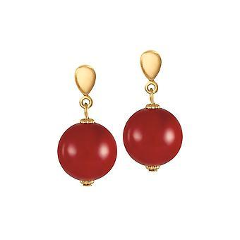 Eeuwige collectie Femme fatale 14mm rode shell Pearl Gold Tone drop clip op oorbellen