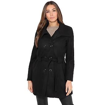 KRISP Belted Double Breasted Woollen Coat
