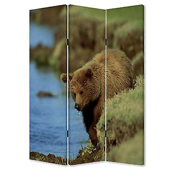 "1"" x 48"" x 72"" Multi Color Wood Canvas Bear  Screen"