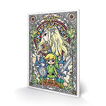 Nintendo The Legend Of Zelda 29.5 x 20 cm Drewniany nadruk