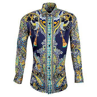 Oscar Banks Luxury Mosaic Patterned Mens Shirt