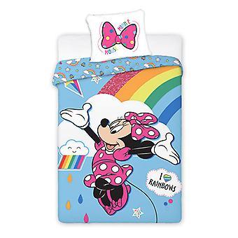 Minnie Mouse Rainbow Single Duvet Cover Set - Tamanho Europeu