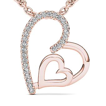 IGI Certified Solid 10k Rose Gold 0.08 Ct Diamond Dual Heart Pendant Necklace
