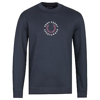 Fred Perry Embroidered Logo Navy Sweatshirt