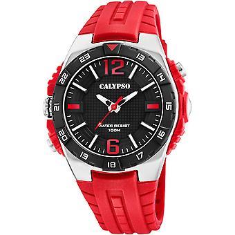 Calypso STREET STYLE K5778-4 klocka-titta 3AIGUILLES 46MM CADRAN NOIR LUNETTE NOIRE arm band RESINE röd Homme