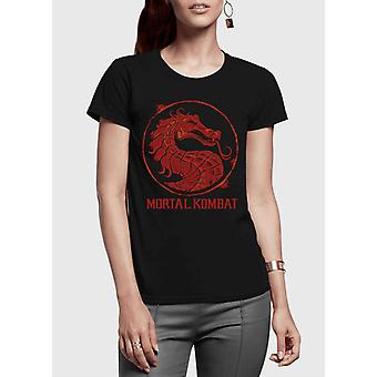 Mortal kombat logo half sleeves women t-shirt