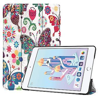 Til iPad mini 5 2019 Case,Karst Texture Folio PU Læder Smart Cover,Butterfly