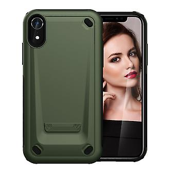 لiPhone XR حالة الجيش الأخضر سليم TPU، PC طبقة مزدوجة واقية من الصدمات الغطاء الواقي