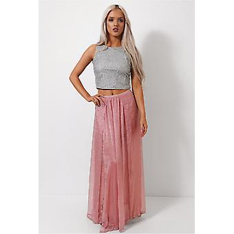 Zoe Chiffon Double Side Split Rose Maxi Skirt