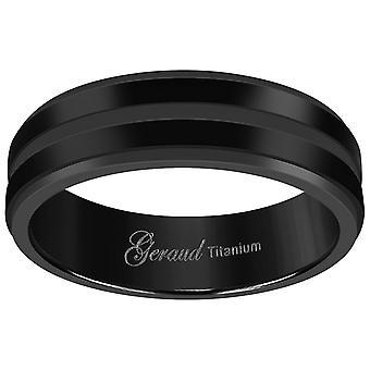 Titanyum Siyah Mens Grooved Merkezi Ridged Edge Comfort Fit Düğün Bandı Erkekler için 6mm Takı Hediyeler - Yüzük Boyutu: 7-12