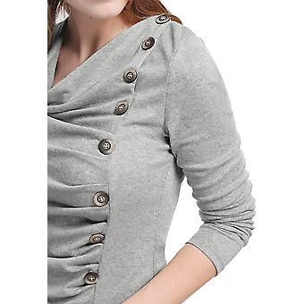 Allegra K Kobiety's Cowl Neck Długie rękawy Guziki Decor, Jasnoszary, Rozmiar X-Small
