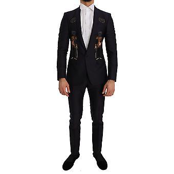Dolce & Gabbana lila Kristall Krone 3 Stück Martini Anzug