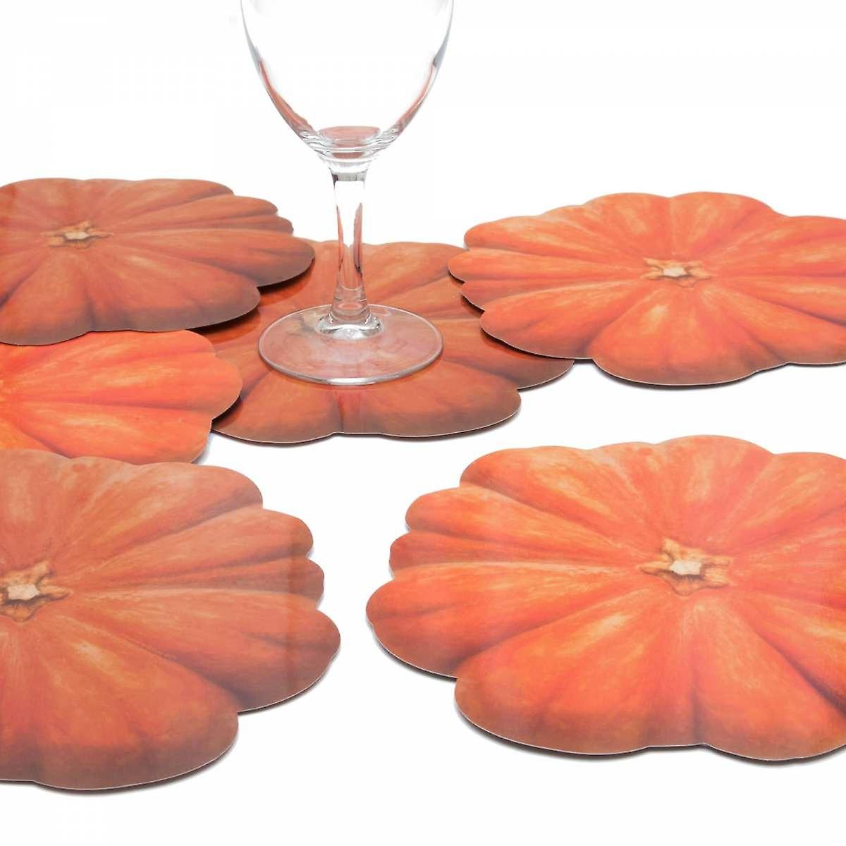 6 glass coasters motif Helloween pumpkin