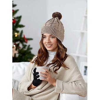 Tatuo Women's Winter Knitted Beanie Hat with Faux Fur, Beige Ha, Size One Size