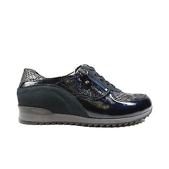 Waldläufer Hurly 370013 703 194 Navy Leather Womens Lace Up Casual Trainers