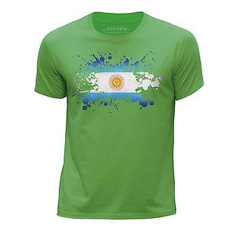 STUFF4 Boy's Round Neck T-Shirt/Argentina Flag Splat/Green