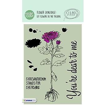 Veer & Moon Flower Language A6 Stamps-Chrysanthemum Stands For Cherishing
