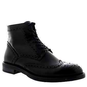 Womens Vagabond Amina Black Leather Brogue Combat Casual Ankle Boots