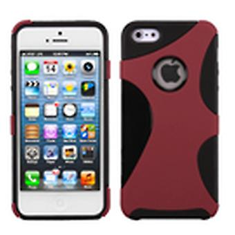 Asmyna Rubberized Cragsman Mixy Case pour Apple iPhone 5s/5 - Rouge/Noir