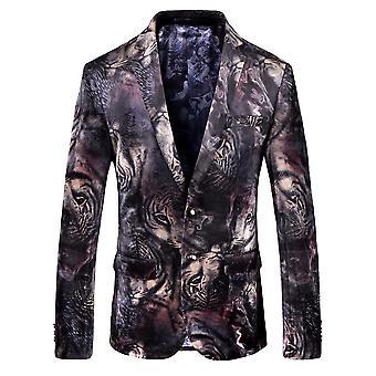 Cloudstyle Men's Blazer Tiger Cotton Slim Fit