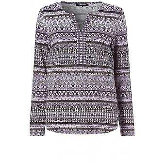 Olsen Grey Patterned Jersey Top
