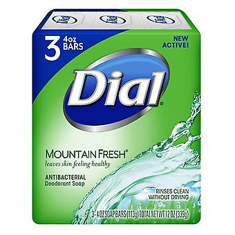 Dial soap bars, antibacterial deodorant, mountain fresh, 4 oz x 3 ea