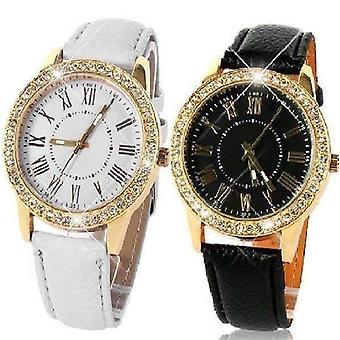 Casual elegance yellow gold geneva watch with matching face ~ two classic colors