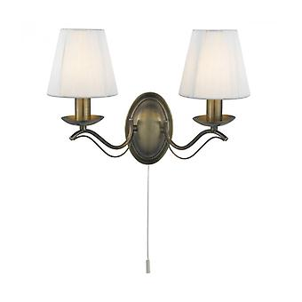 Andretti Wall Lamp, In Antique Brass With 2 Cream Lampshades