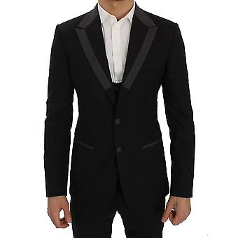 Dolce & Gabbana Black Wool Stretch Slim Blazer Jas