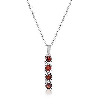Sterling Silver Genuine Garnet Pendant Necklace, 18