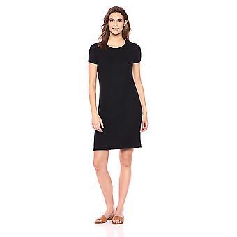 Brand - Daily Ritual Women's Cozy Knit Open Crew Neck Dress, Black, X-Small