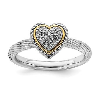 2,5 mm 925 Sterling Silber poliert Prong Set Rhodium plattiert und 14k stapelbare Ausdrücke Diamant Liebe Herz Ring Juwelier